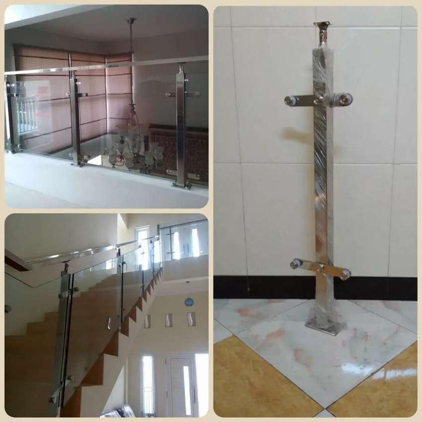 Railing tangga model kaca stainless, pagar balkon tangga minimalis - Jasa -  818613410